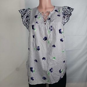 Old Navy Womens Lace Up Blouse White Striped Embro